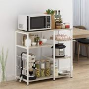 "Mr IRONSTONE Kitchen Baker's Rack Utility Storage Shelf Microwave Stand 3-Tier+3-Tier Table for Spice Rack Organizer Workstation (35.5"" Light Beige)"