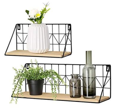 Wall Mounted Floating Shelves Set of 2 Rustic Metal Wire Storage Shelves