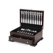 Wallace Dark Walnut Single Drawer Footed Flatware Storage Chest