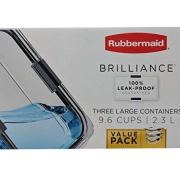 Rubbermaid 2046927 Brilliance Food Storage Container, Large, 9.6 Cup, Clear, 3-Pack,