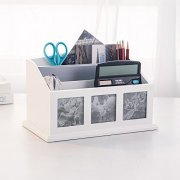 INART Desk Organizer and Accessories Pencil Holder Container Remote Control Storage Mail Sorter with 3 Photo Openings for Desktop Home Office Supplies, White Finish