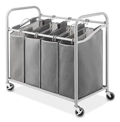 Whitmor Heavy-Duty Laundry Sorter Storage with Lockable Caster Wheels, 4 Large Bags with Durable Metal Frame and Handles for Easy Carrying