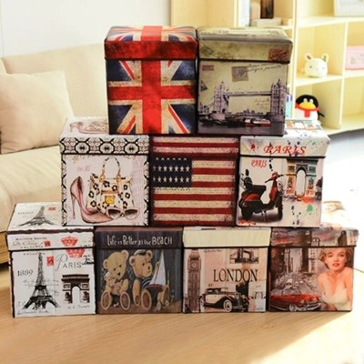 Storagestool square flag Folding stool multifunctional storage stool British film non-woven storage box home decore decoration
