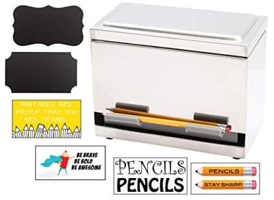 2Fold Supply Stainless Steel Pencil Dispenser - For Bulk Pencil Storage and Dispensing - Custom Pencil, Inspirational, Classroom and Chalkboard Marker Labels Included - Holds up to 200 Pencils