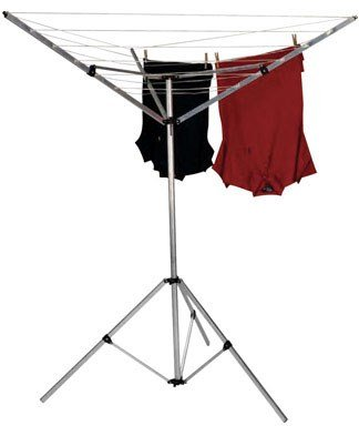 Household Essentials 17125-1 Portable Umbrella Drying Rack   Aluminum   18-Lines with 64 ft. Clothesline
