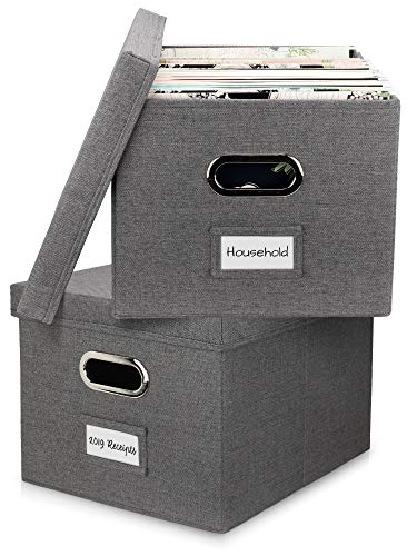 Beautiful File Organizer Box Set of 2 - Collapsible Linen Filing Boxes for Easy File Folder Storage - Organize Your Documents and Hanging Files in Style