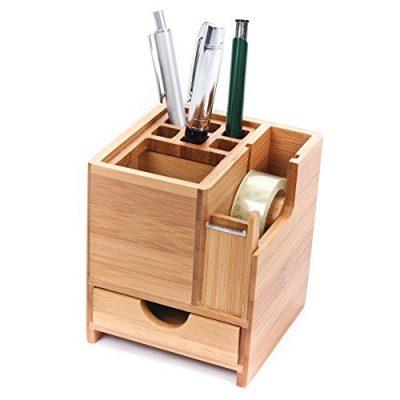 CKB Ltd Bamboo Desk Square Pen Pencil Holder Stand Office Organizer with Drawer & Tape Dispenser