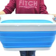 SAMMART Collapsible Plastic Laundry Basket - Foldable Pop Up Storage Container/Organizer - Portable Washing Tub - Space Saving Hamper/Basket (Rectangular, Sky Blue)
