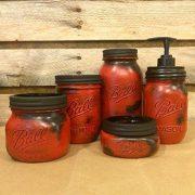 5 Piece Rustic Red Mason Jar Bathroom Accessory Set or Desk Set with Mason Jar Soap Dispenser