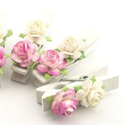 Summer-Ray 50 Handmade Mulberry Flower Decorated Mini White Wooden Clothespin Wedding Favors Decoration (White-Pink)