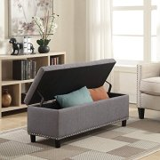 "Belleze 48"" Rectangular Gray Storage Fabric Ottoman Bench"