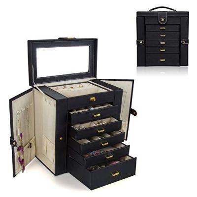 HEZALA Large Jewelry Organizer - 6 Layer - Huge Protoplasm PU Leather