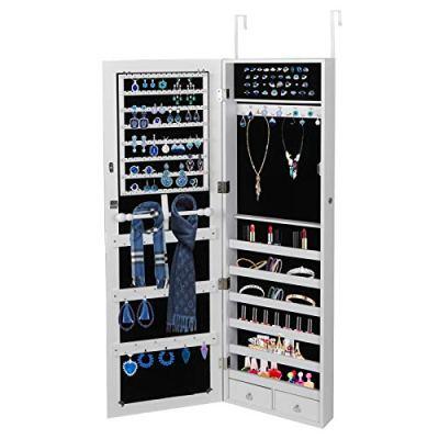 ZENY Jewelry Cabinet Jewelry Armoire Wall Door Mounted Jewelry Organizer