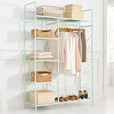 BrylaneHome 5-Tier Metal Closet with Hanging Rod