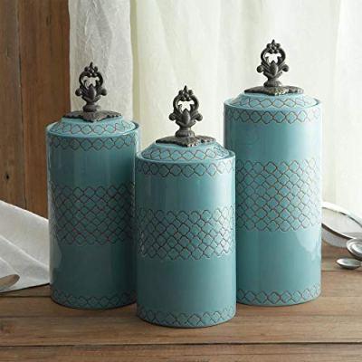 Ceramic Kitchen Canisters   Set of 3 Food Storage Jars