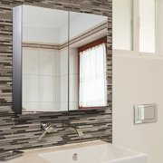 """HomCom 22"""" Stainless Steel Double Doored Wall Mounted"""