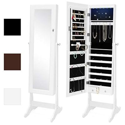 Best Choice Products 6-Tier Full Length Standing Mirrored Lockable Jewelry Storage