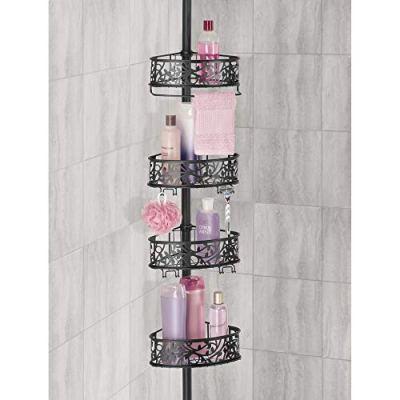 mDesign Bathroom Shower Storage Constant Tension Corner Pole Caddy