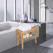Ollieroo Bamboo Shower Bench Seat Wooden Spa Bench Stool