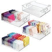 mDesign Plastic Closet Storage Bin with Handles - Divided Organizer for Shirts