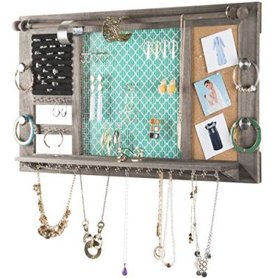 "Large Rustic Wall Mounted Jewelry Organizer: 28""x16"" Shabby Chic Jewelry Box"