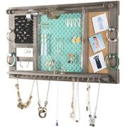 "Large Rustic Wall Mounted Jewelry Organizer: 28""x16"" Shabby Chic Jewelry Box"