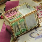 Hersoo Gold Dustfree Antique Decorative Box with 4Compartments for Cotton Ball