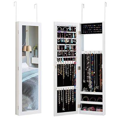 Giantex Wall Door Mounted Mirrored Jewelry Cabinet Jewelry Armoire Storage
