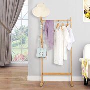 LANGRIA Single Rail Bamboo Garment Rack with 8 Side Hook Tree Stand
