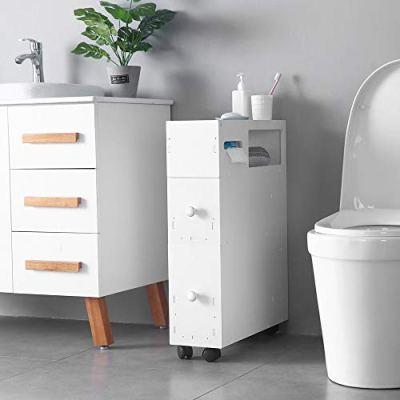 SSLine Slim Bathroom Floor Cabinet Wood Bathroom Storage Organizer
