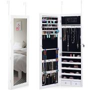 Giantex Door Wall Jewelry Cabinet Armoire Mounted with 15 LED