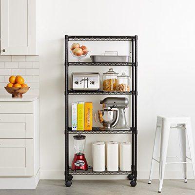 AmazonBasics 5-Shelf Shelving Storage Unit on 4'' Wheel Casters