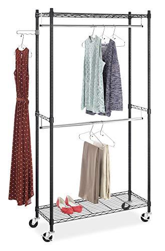 Whitmor Supreme Double Rod Garment Rack Rolling Clothes Organizer