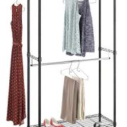 Whitmor Supreme Double Rod Garment Rack Rolling Clothes Organizer