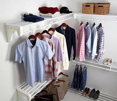 EZ Shelf Walk-in Closet Kit Hanging and Shelf Space, White