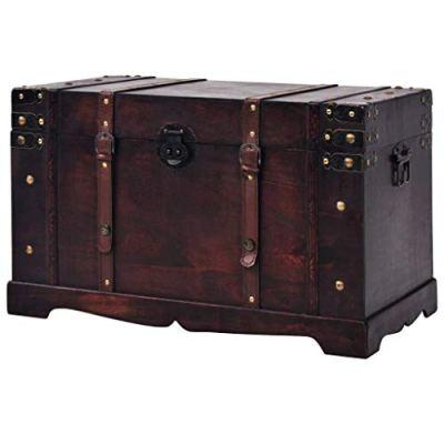 Storage Trunk Wood, Antique Treasure Chest Large