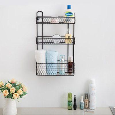MyGift 3-Tier Rustic Chicken Wire Wall Hanging Bathroom Organizer