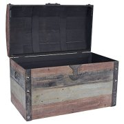 Household Essentials Stripped Weathered Wooden Storage Trunk