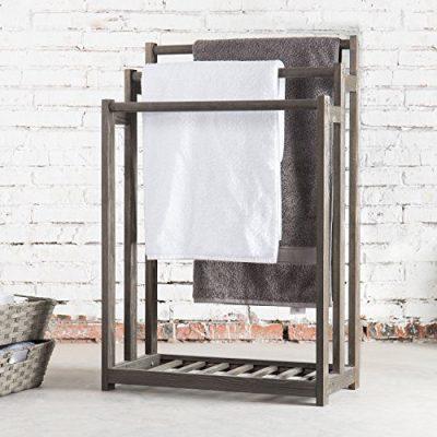 MyGift 3-Bar Wood Grey Towel Rack