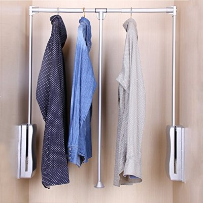 Gimify Pull Down Closet Rod, Wardrobe Lift Organizer Storage Systerm