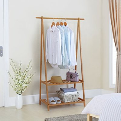 Finnhomy Bamboo Clothes Rack Portable Extra Large Garment Rack