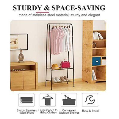 Fresh Household Freestanding Closet, Double Rod Heavy Duty Garment Rack