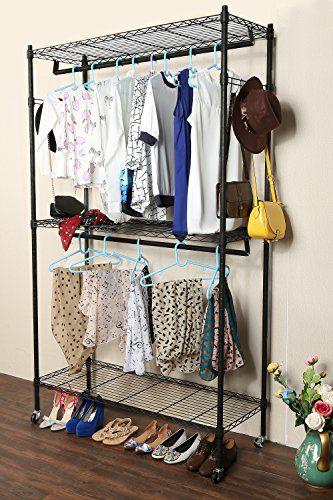 Homdox Double Rod Closet 3 Shelves Wire Shelving Clothing