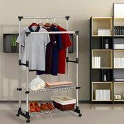 SUNPACE Clothing Garment Rack Adjustable Height Double Hanging Rail
