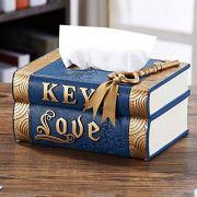 Ashjkk American Vintage Book Tissue Cover Tray Desk Storage Box