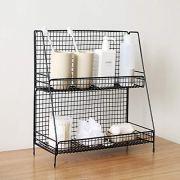S.H. Black 2 Tier Wire Basket Bathroom Organizer Shelves Cosmetic Makeup