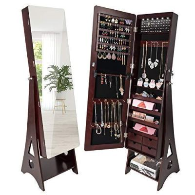 SUNCOM 6 LED Jewelry Cabinet, Full Length Mirror Standing Jewelry