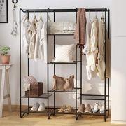 LANGRIA Large Free-Standing Closet Garment Rack Made of Sturdy Iron