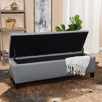 Christopher Knight Home Living Skyler Grey Leather Storage Ottoman Bench