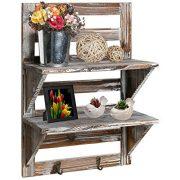 MyGift Rustic Wood Wall Mounted Organizer Shelves w/ 2 Hooks